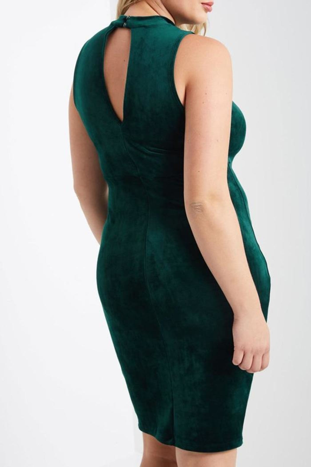 MaiTai Green Velvet Dress - Back Cropped Image