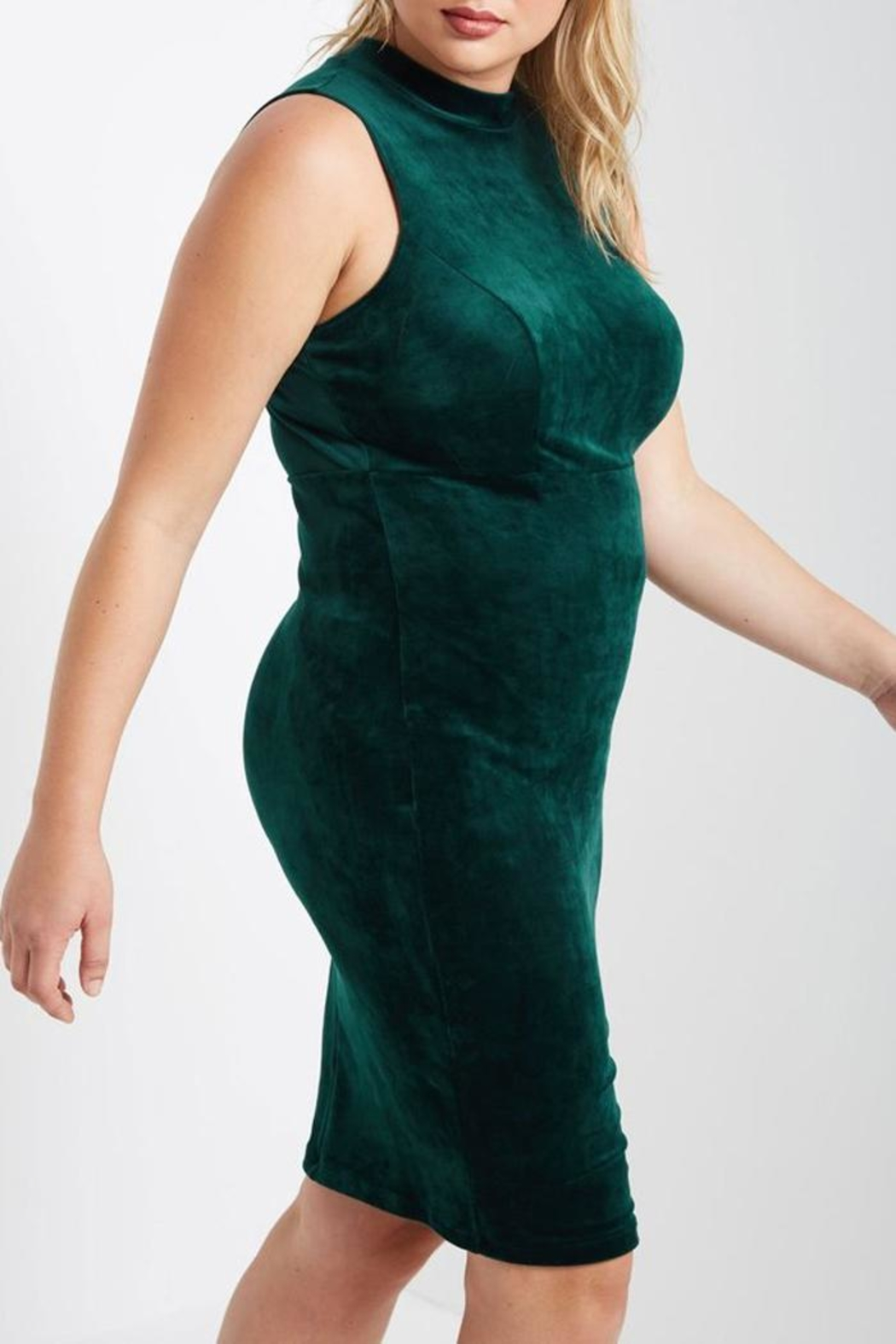 MaiTai Green Velvet Dress - Side Cropped Image