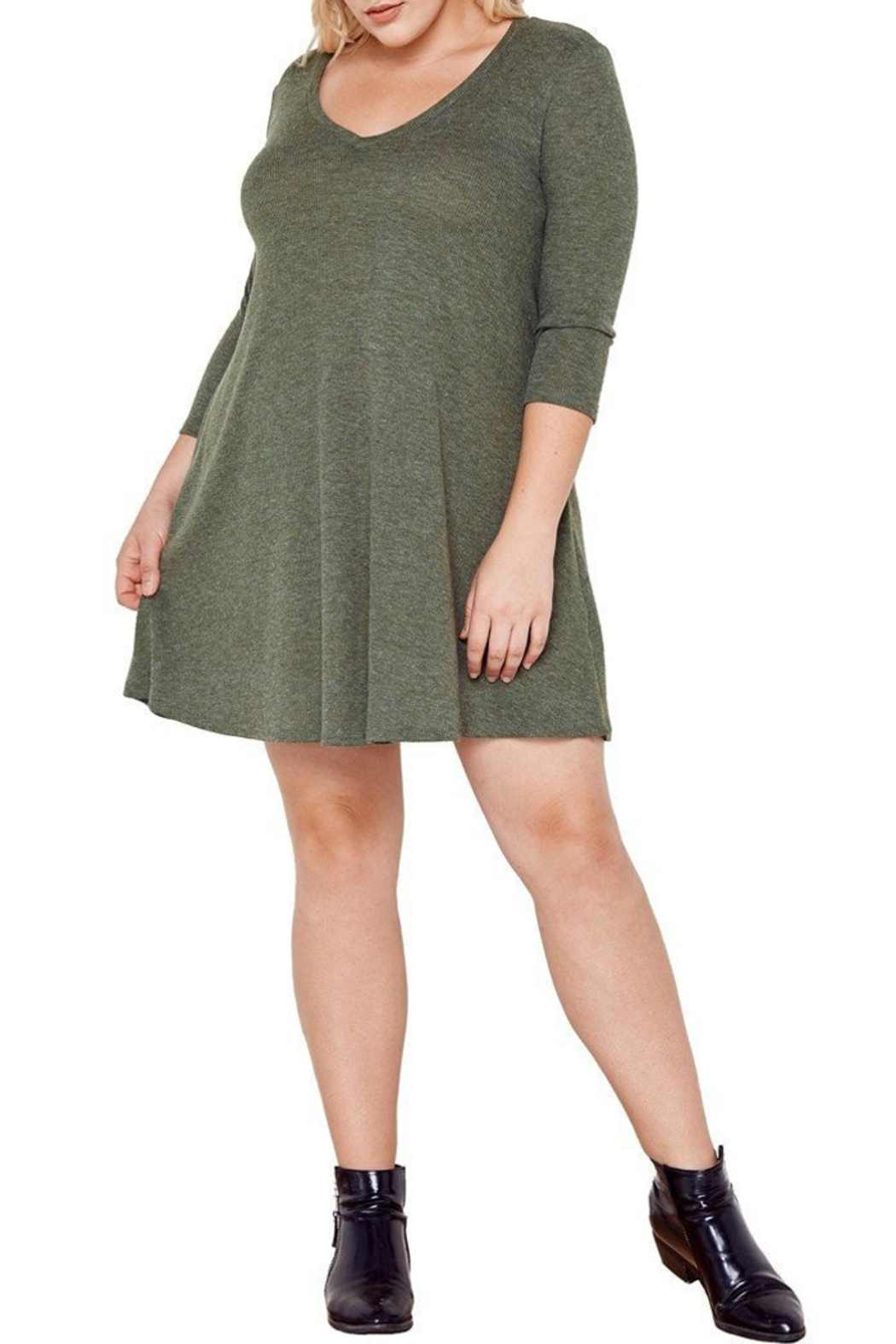 MaiTai Olive Ribbed Dress - Side Cropped Image