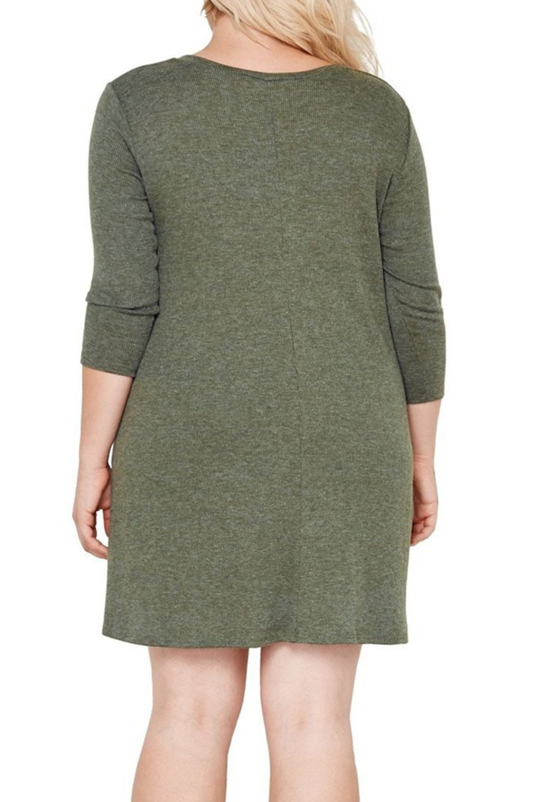 MaiTai Olive Ribbed Dress - Front Full Image