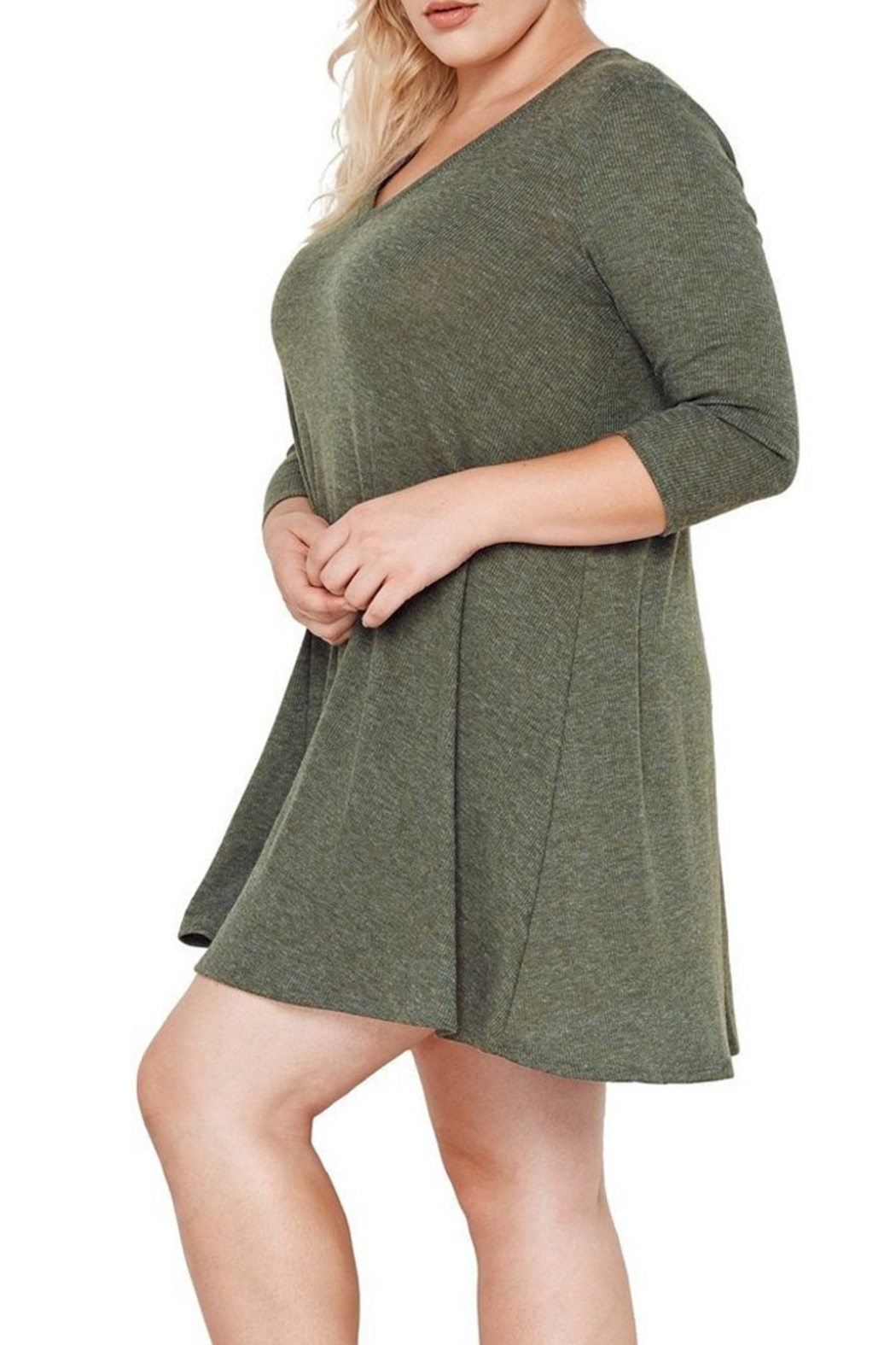 MaiTai Olive Ribbed Dress - Front Cropped Image