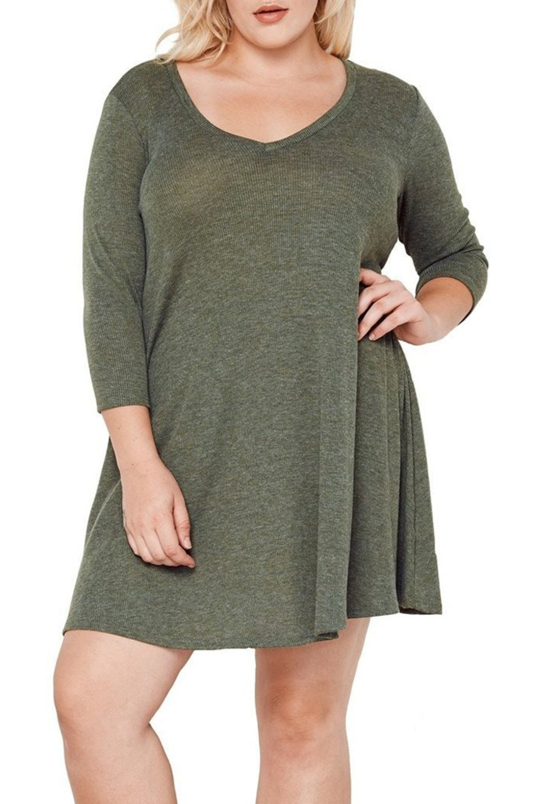 MaiTai Olive Ribbed Dress - Back Cropped Image