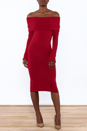 Mak Sweater Off The Shoulder Sweater Dress - Product Mini Image