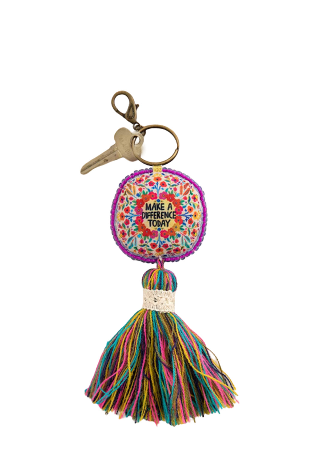 Natural Life Make A Difference Mantra Keychain - Main Image