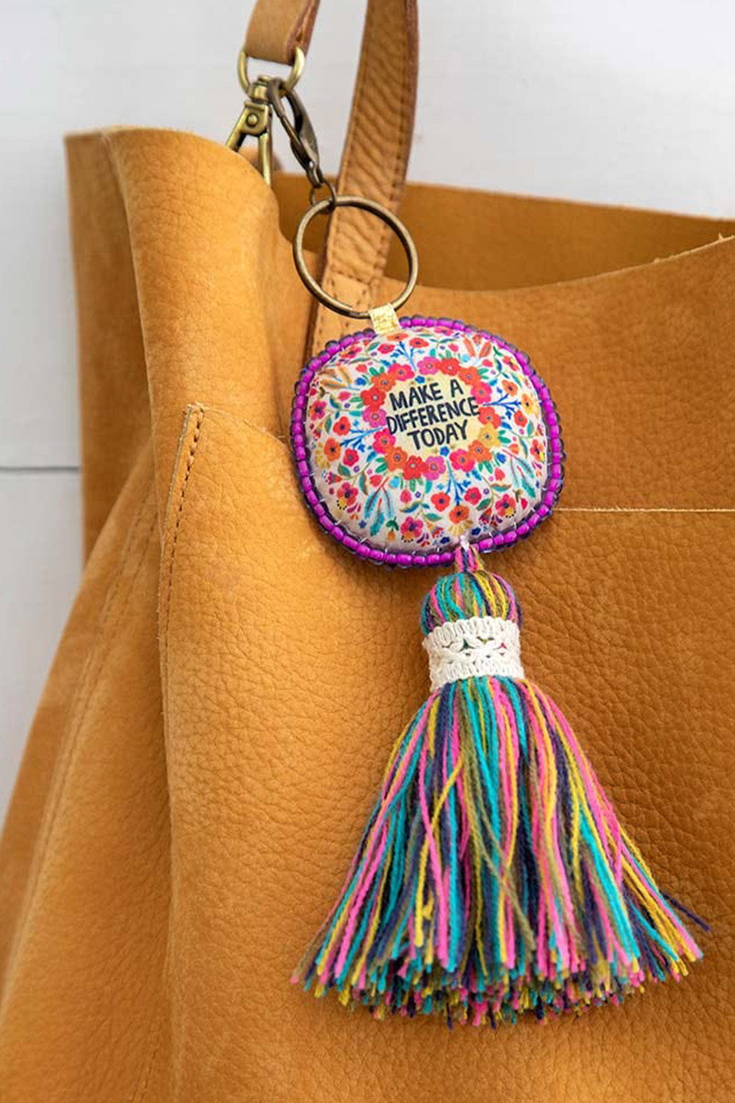 Natural Life Make A Difference Mantra Keychain - Front Full Image