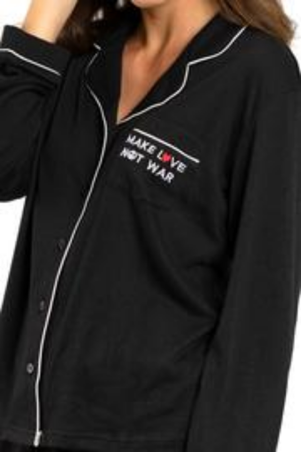 Los Angeles Trading Co.  Make Love Not War - Luxe PJ Set - Front Full Image
