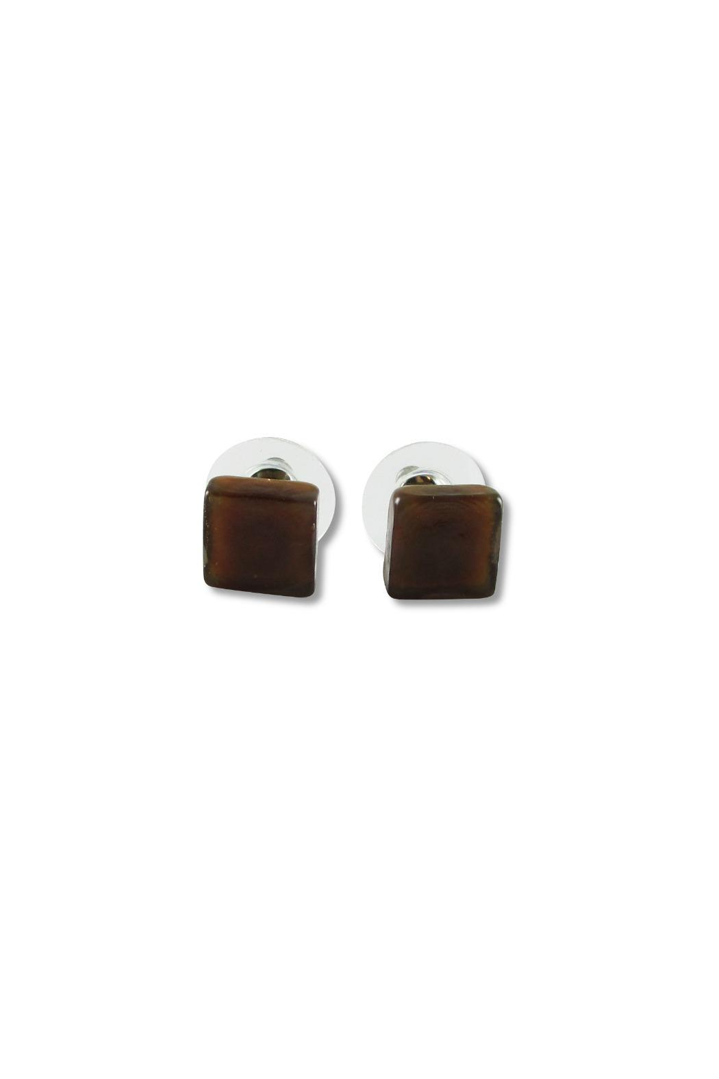 Maku Glass Square Studs - Back Cropped Image