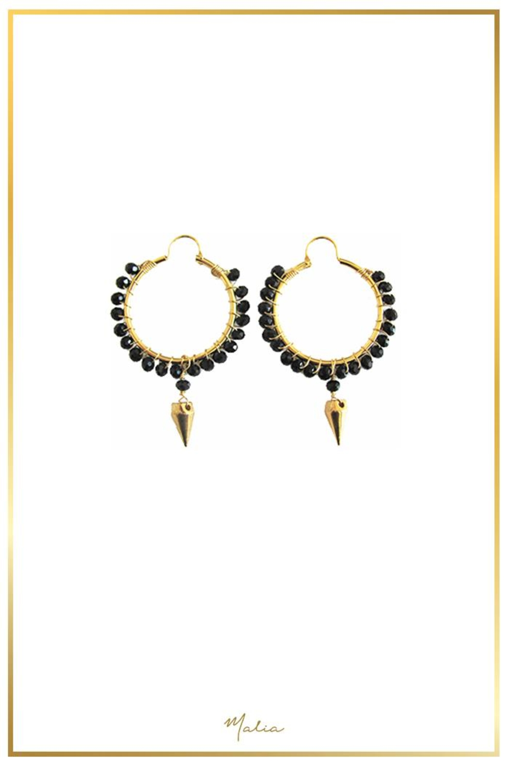 Malia Designs Black Crystal Hoops - Front Cropped Image