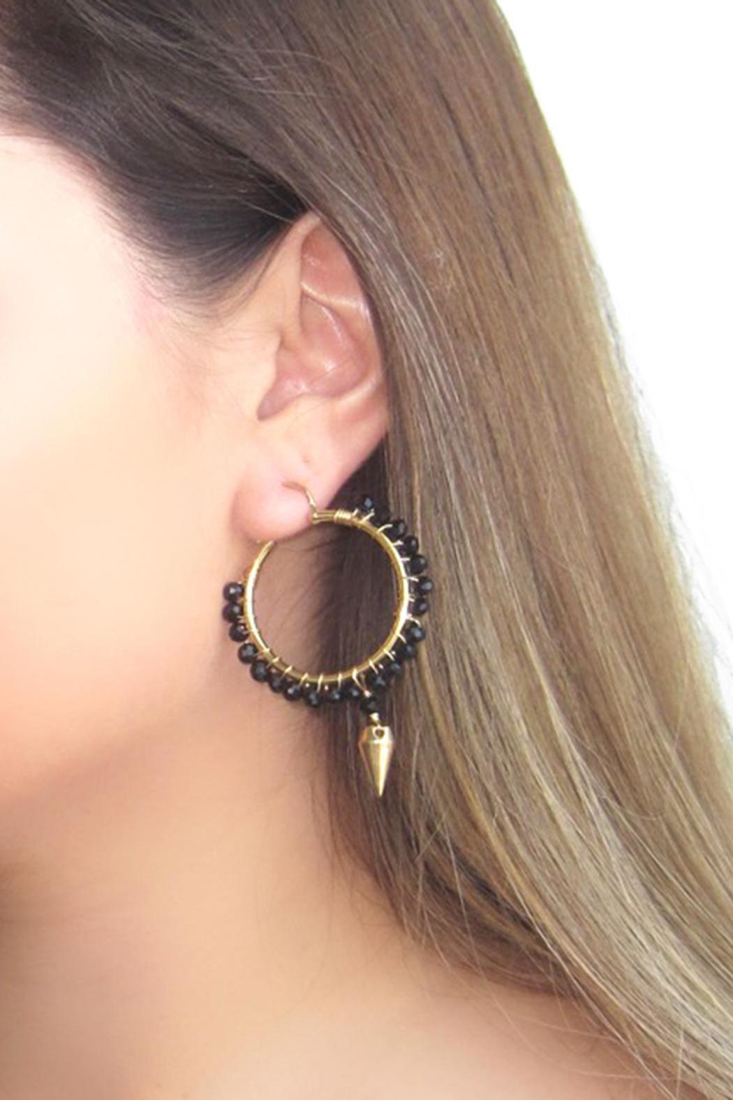 Malia Designs Black Crystal Hoops - Back Cropped Image