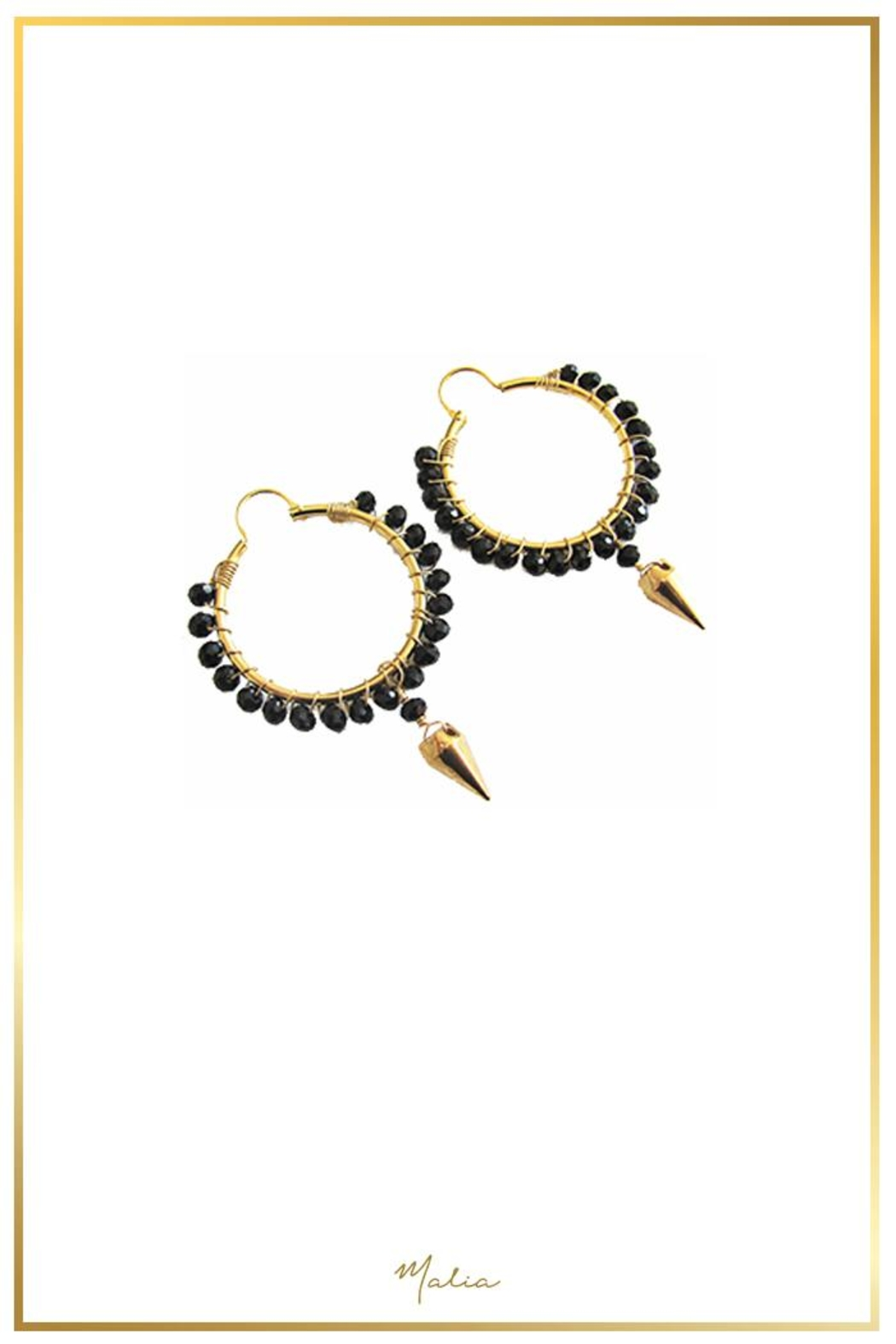 Malia Designs Black Crystal Hoops - Front Full Image