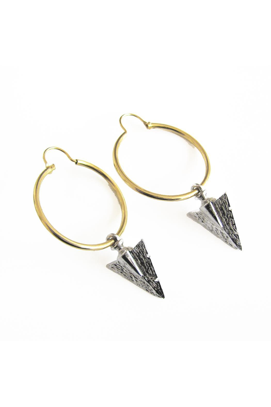 Malia Designs Silver Arrow Hoops - Front Cropped Image