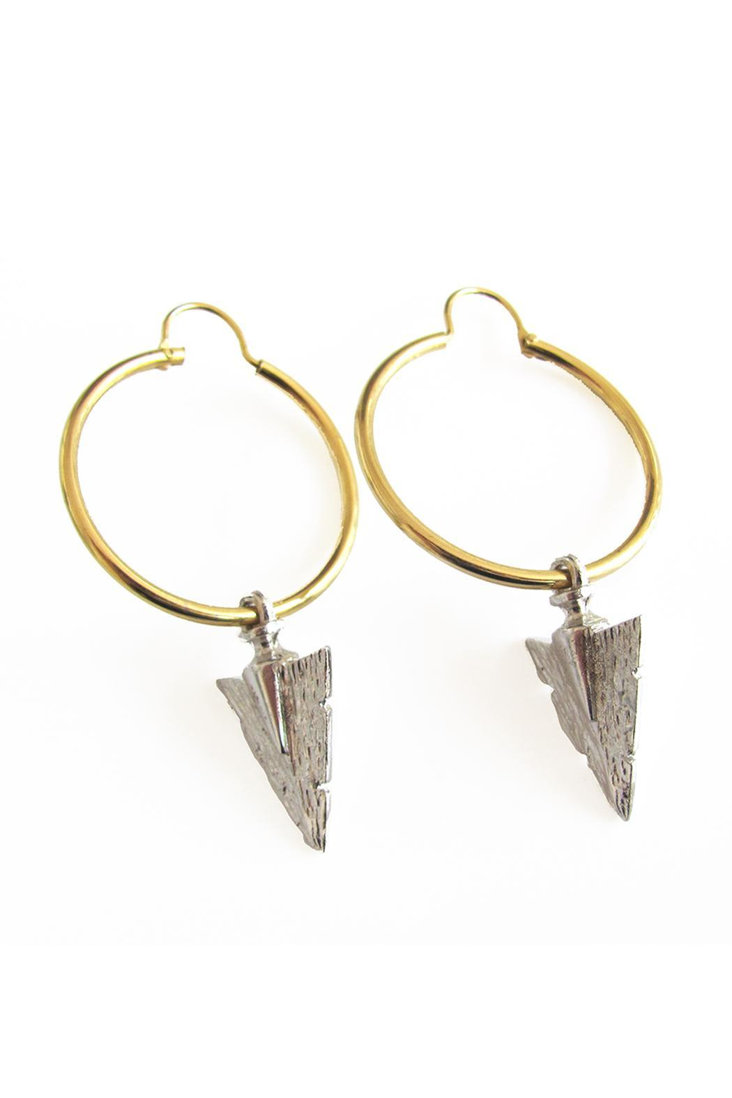 Malia Designs Silver Arrow Hoops - Front Full Image