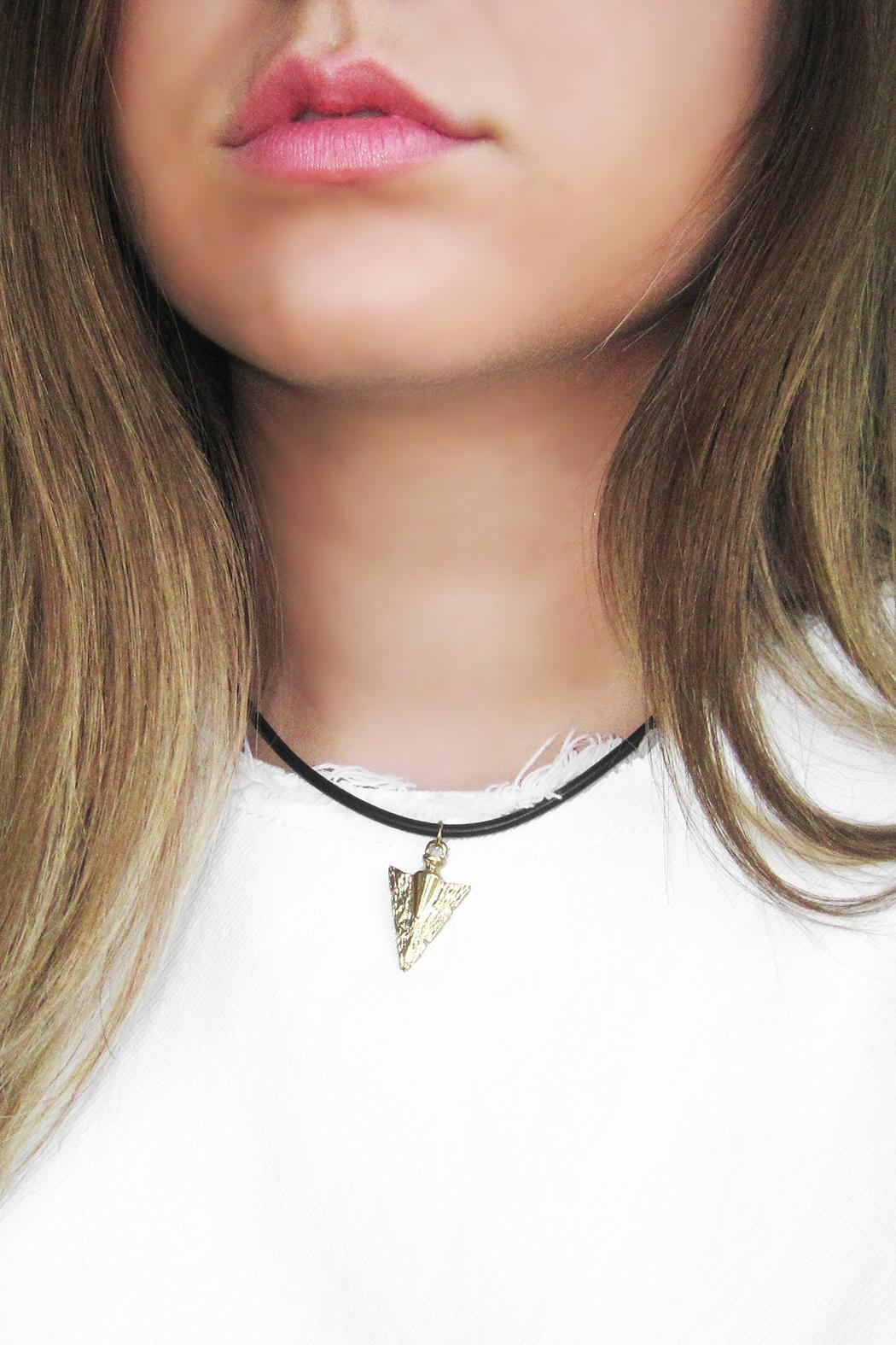 Malia Jewelry Arrow Black Choker - Back Cropped Image