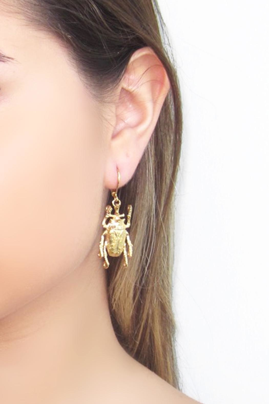 Malia Jewelry Beetle Earrings - Back Cropped Image
