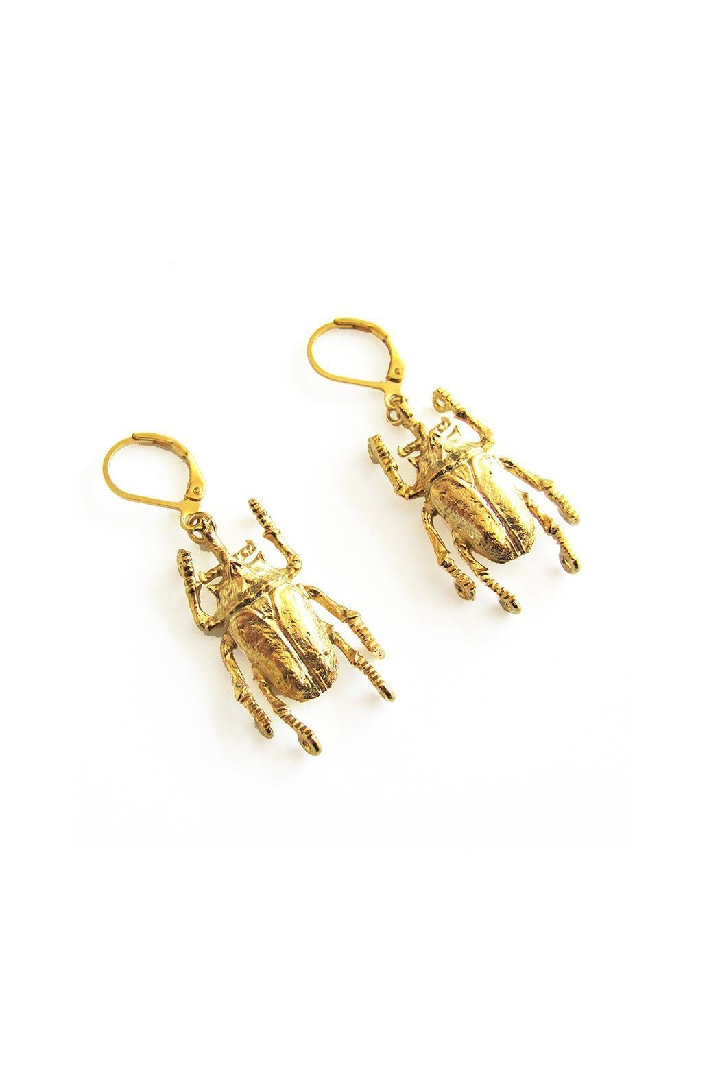 Malia Jewelry Beetle Earrings - Front Full Image