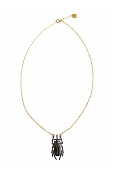 Malia Jewelry Black Beetle Necklace - Product List Image