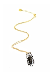 Malia Jewelry Black Beetle Necklace - Front full body