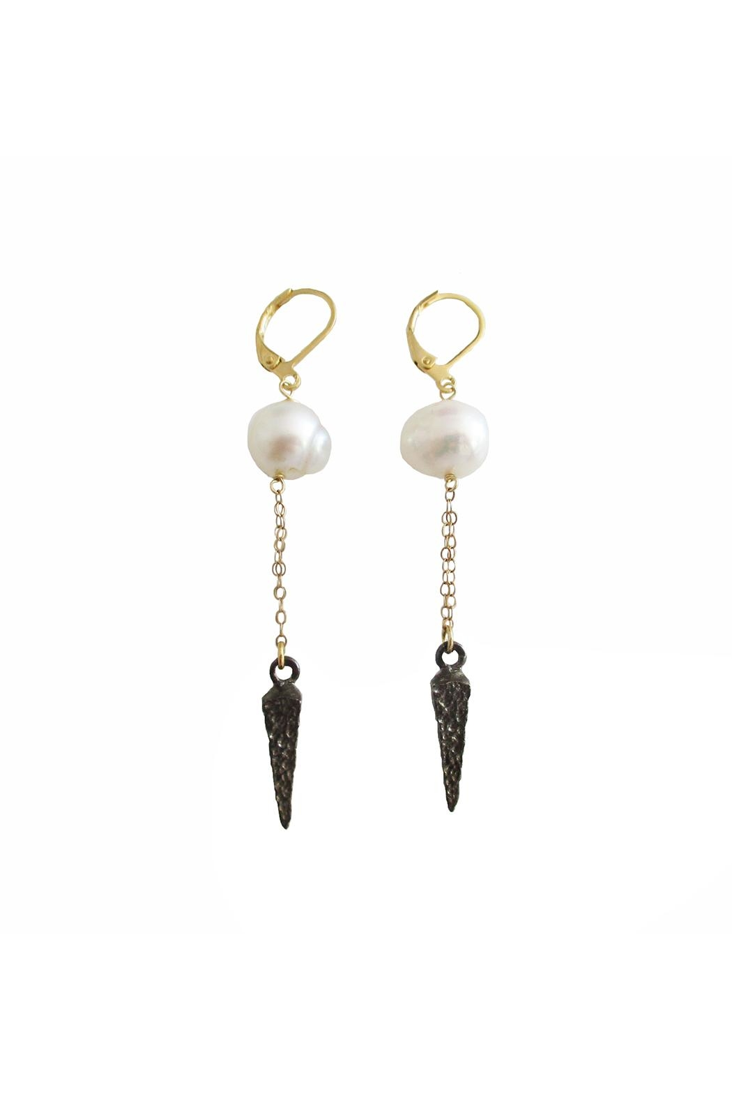 Malia Jewelry Black-Spike Pearl Earrings - Front Cropped Image