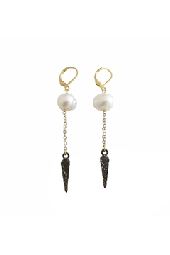 Shoptiques Product: Black-Spike Pearl Earrings