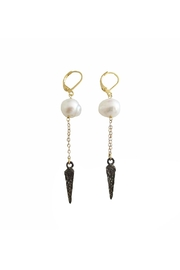 Malia Jewelry Black-Spike Pearl Earrings - Product Mini Image
