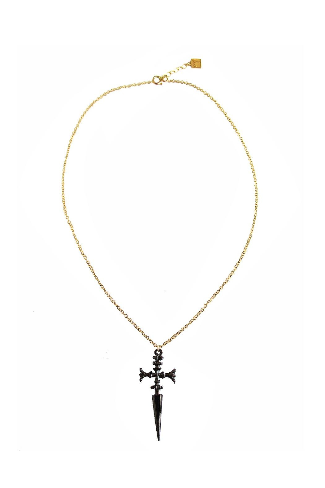 Malia Jewelry Black Sword Necklace - Front Cropped Image