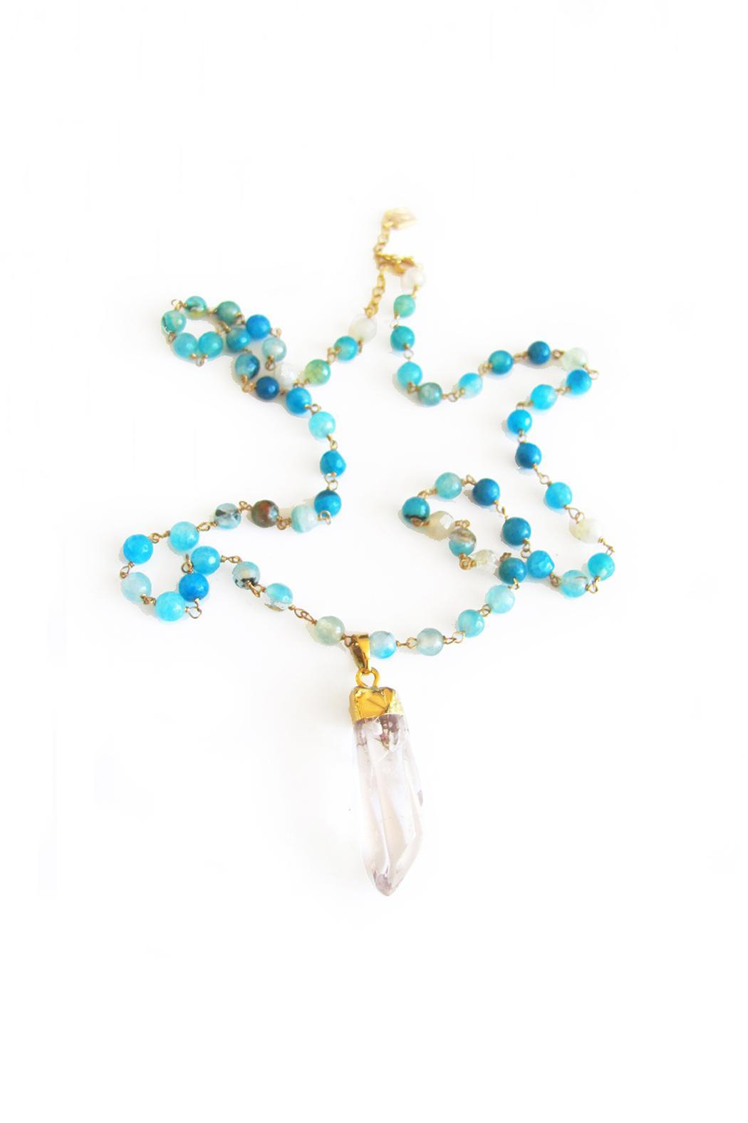 Malia Jewelry Blue Agate Quartz Necklace - Front Cropped Image