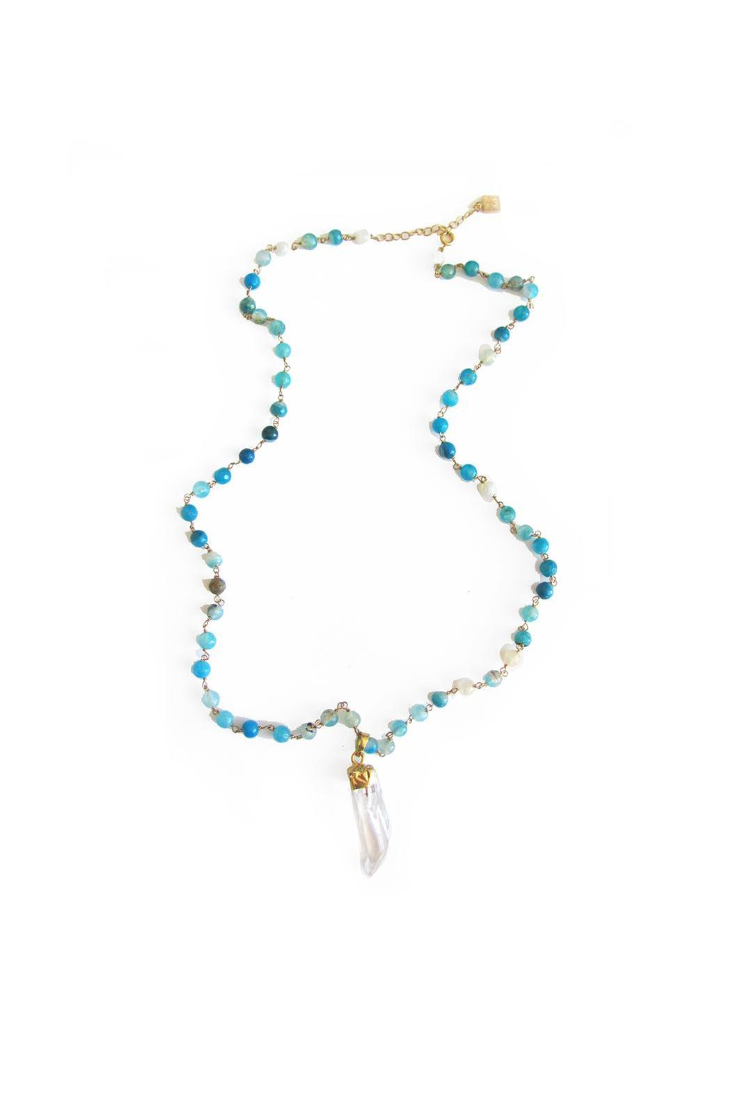 Malia Jewelry Blue Agate Quartz Necklace - Side Cropped Image