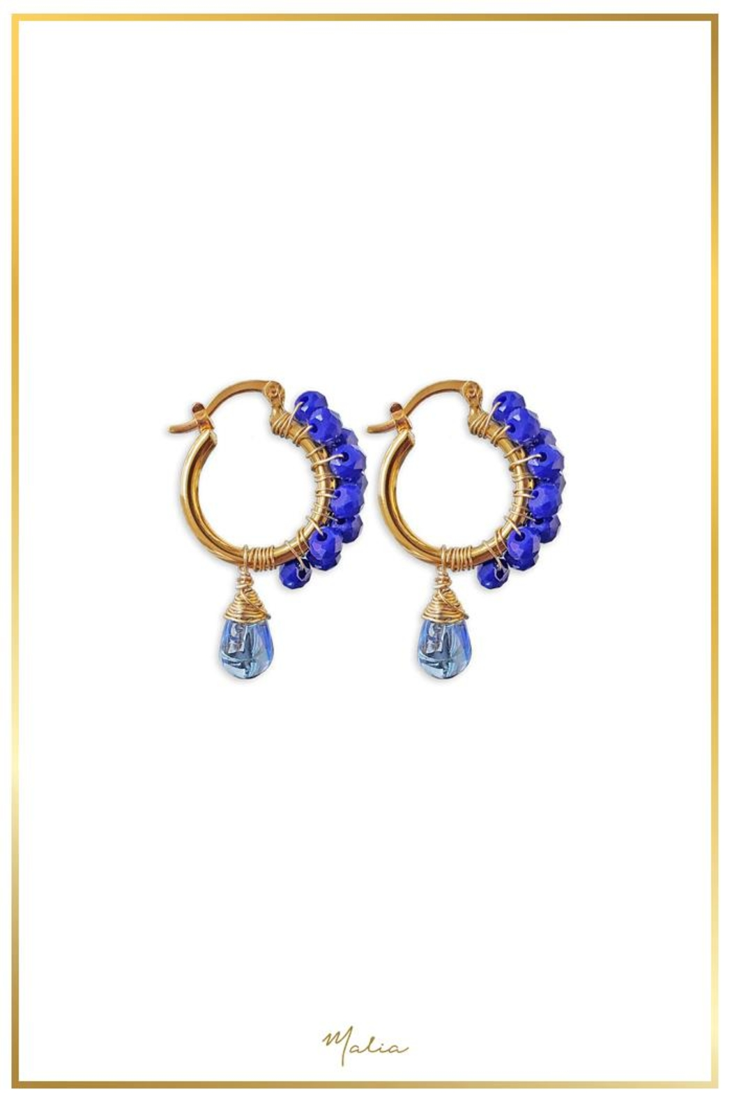 Malia Jewelry Blue Crystal Hoops - Main Image
