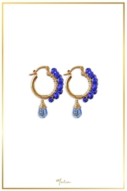 Malia Jewelry Blue Crystal Hoops - Front cropped