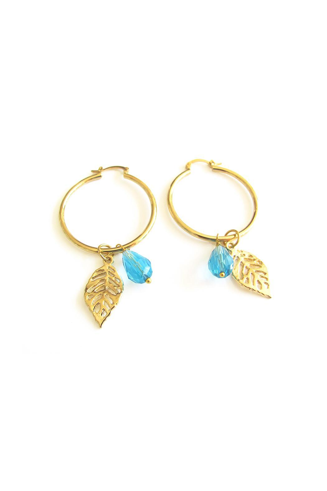 Malia Jewelry Blue Tropical Hoops - Front Full Image