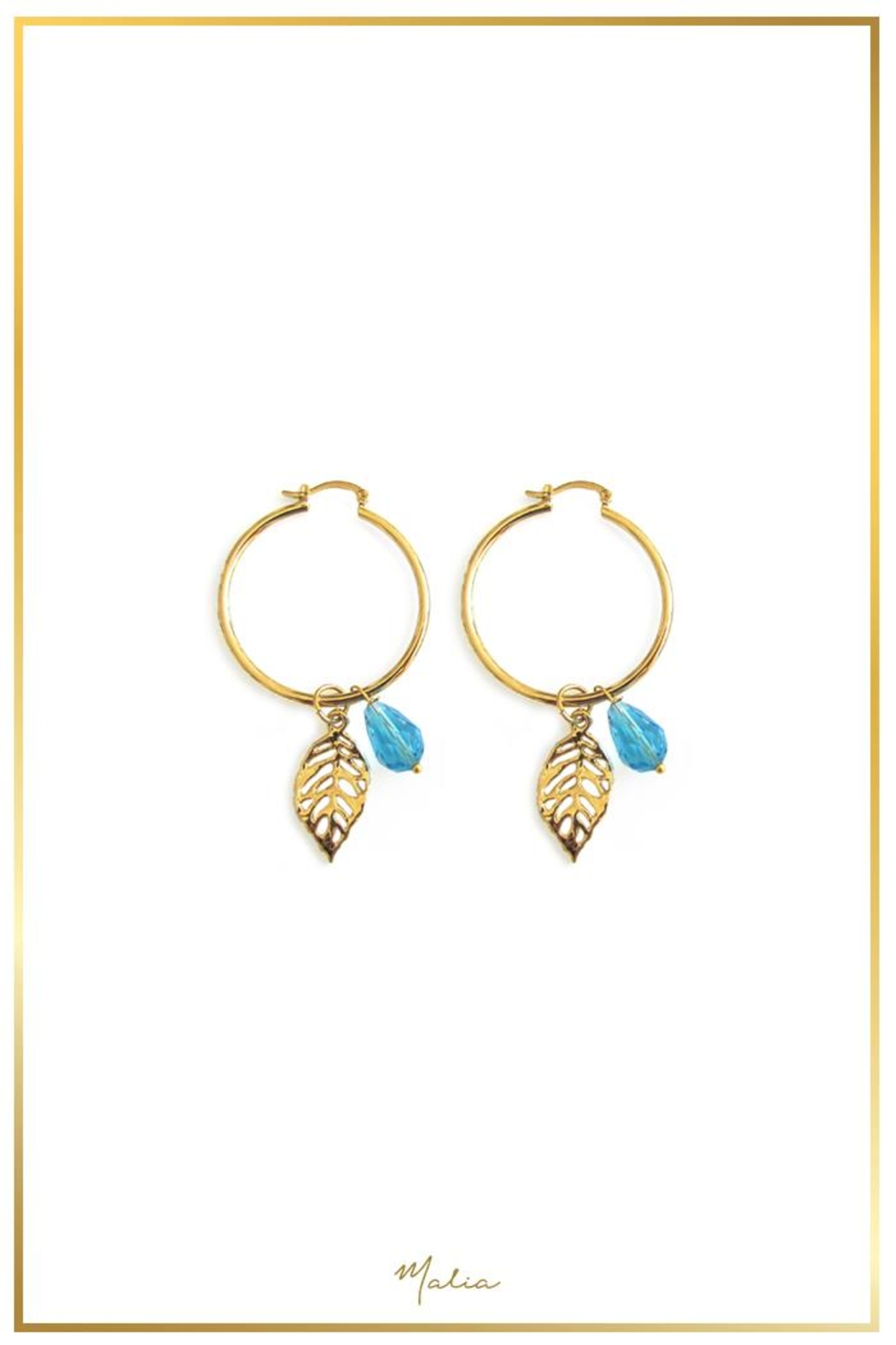 Malia Jewelry Blue Tropical Hoops - Main Image