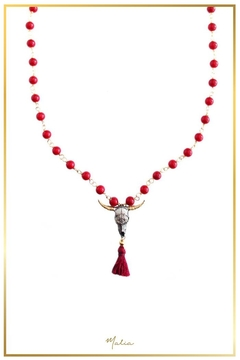 Malia Jewelry Bull, Red-Tassle And Corals Necklace - Product List Image