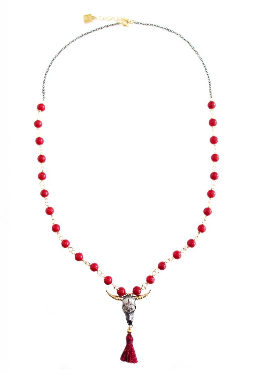 Malia Jewelry Bull, Red-Tassle And Corals Necklace - Main Image