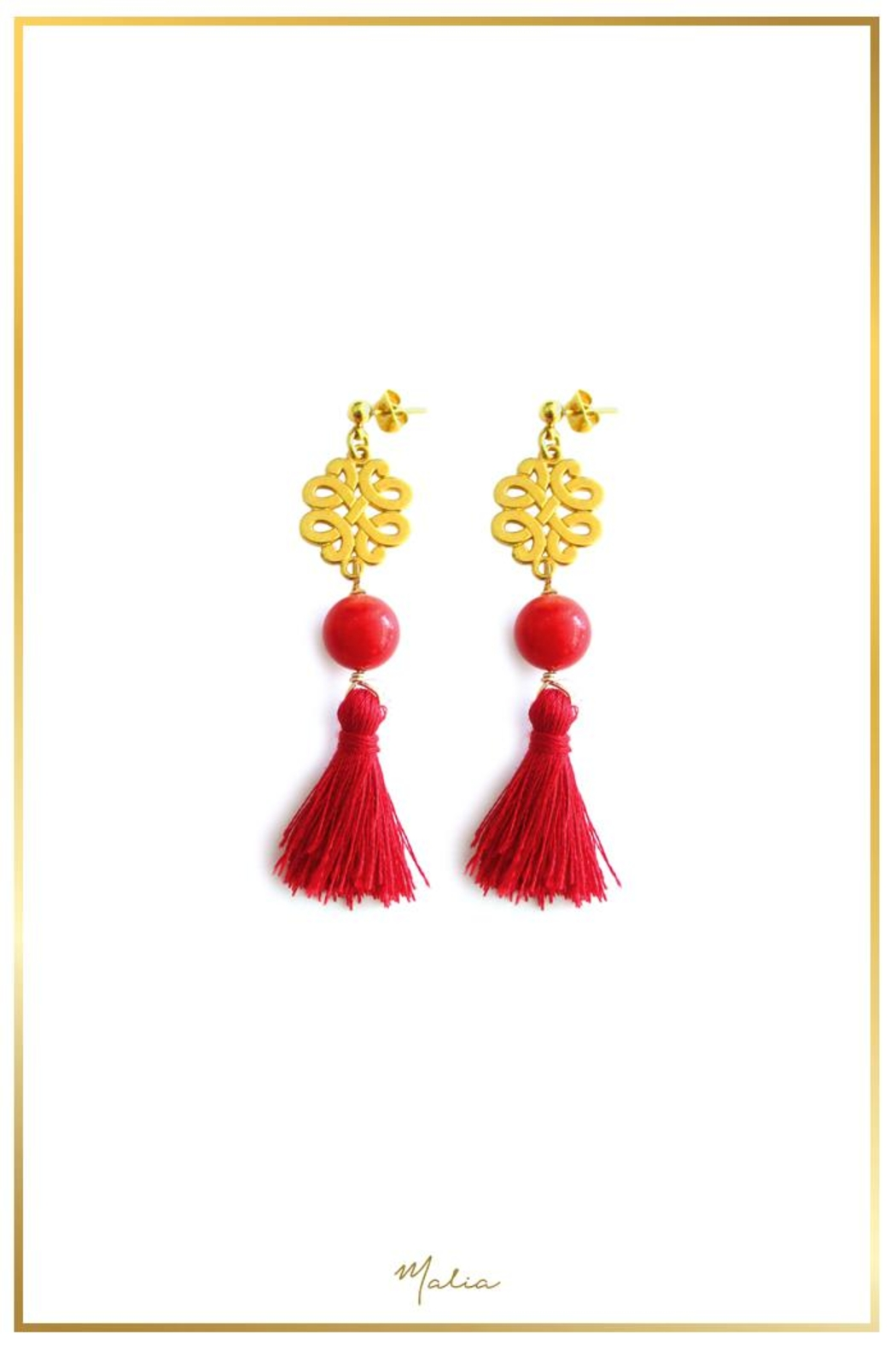 Malia Jewelry Coral Red-Tassel Earrings - Front Cropped Image