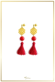 Malia Jewelry Coral Red-Tassel Earrings - Front cropped