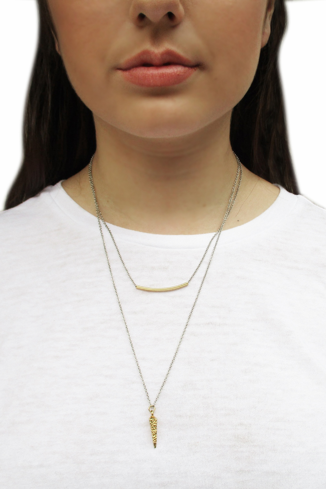 Malia Jewelry Double Layer Charm Necklace - Side Cropped Image