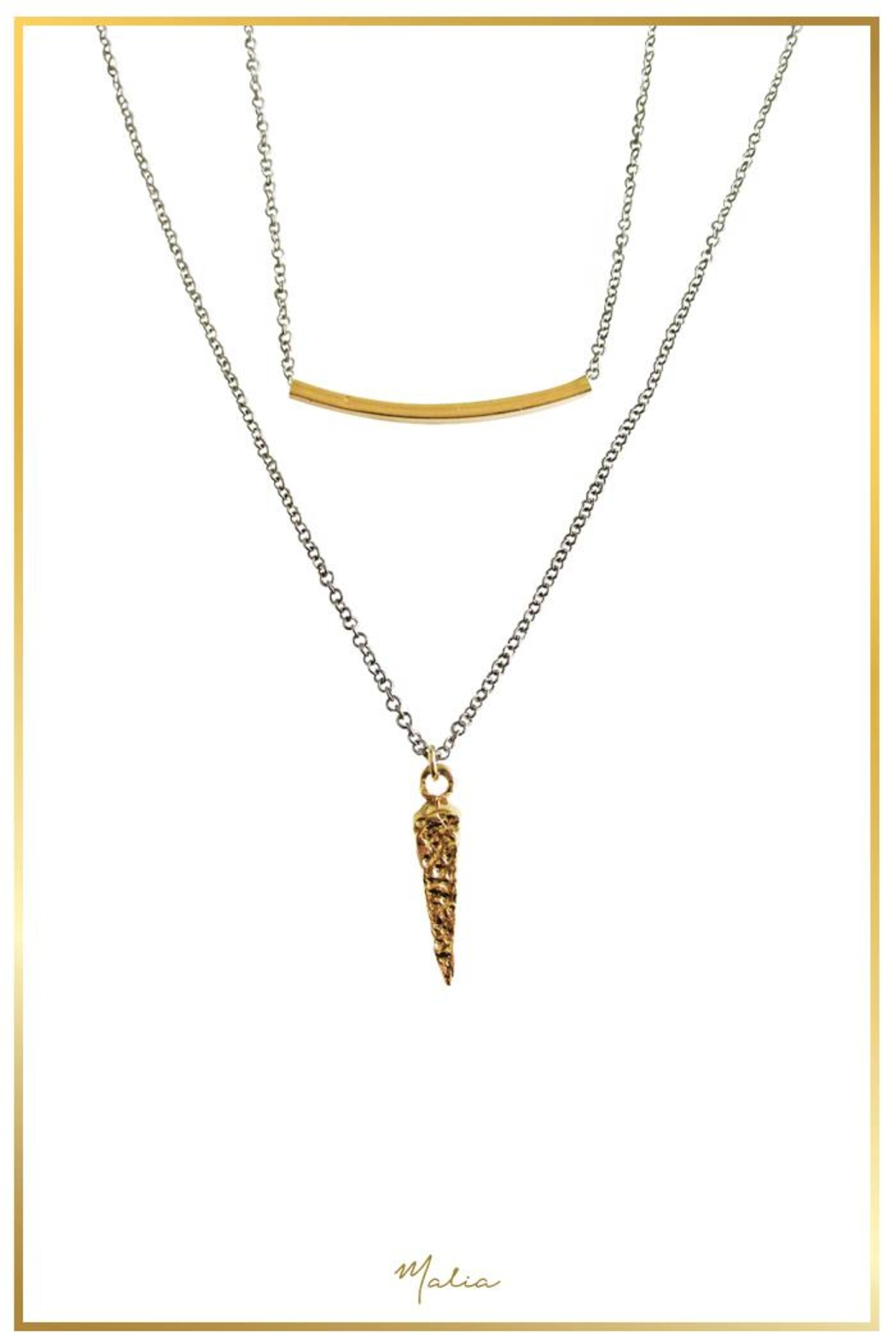 Malia Jewelry Double Layer Charm Necklace - Main Image