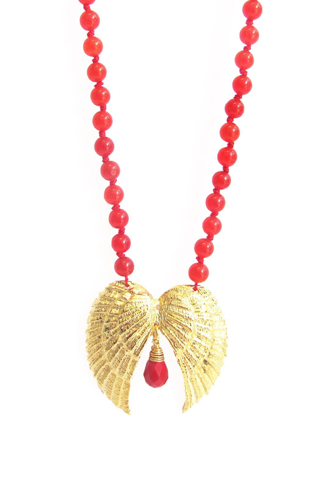 Malia Jewelry Double-Wing Coral Necklace - Side Cropped Image
