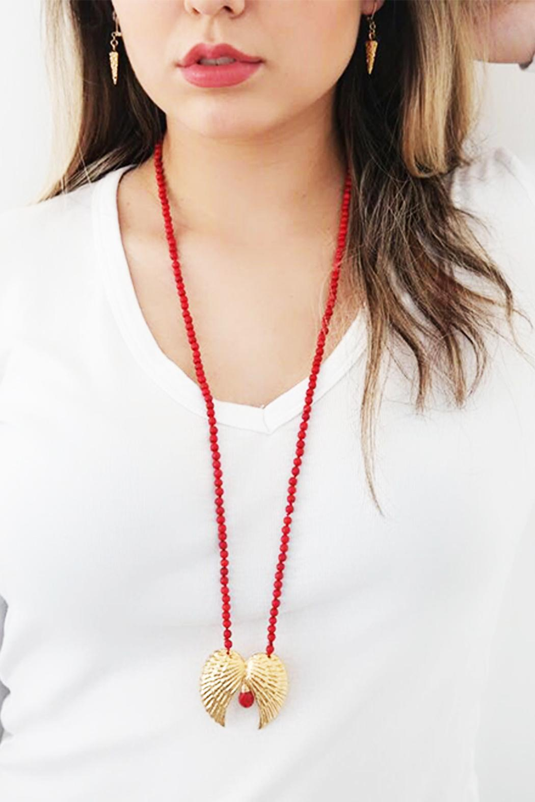 Malia Jewelry Double-Wing Coral Necklace - Back Cropped Image