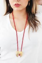 Malia Jewelry Double-Wing Coral Necklace - Back cropped