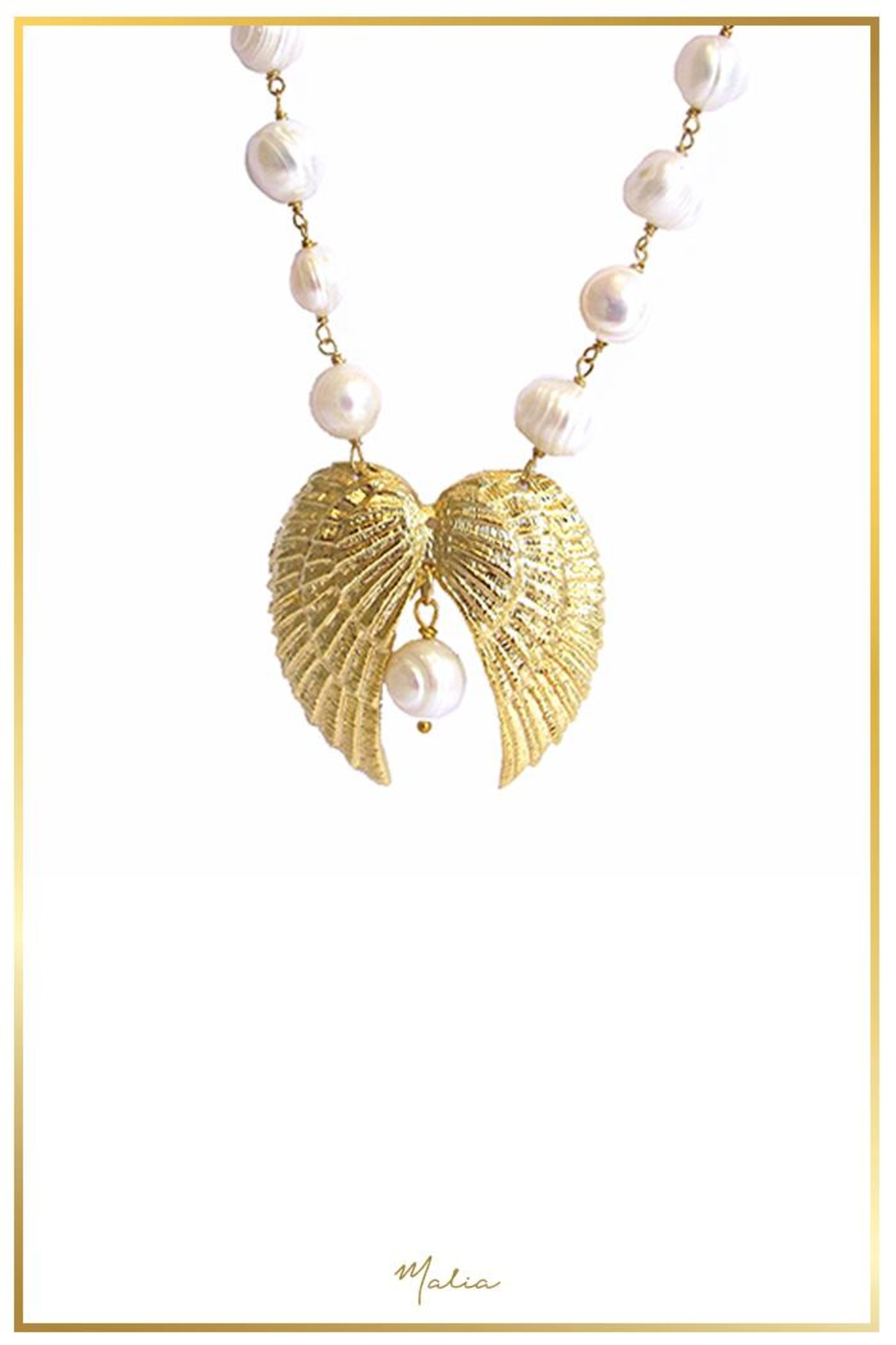 Malia Jewelry Double-Wing Pearl Necklace - Main Image