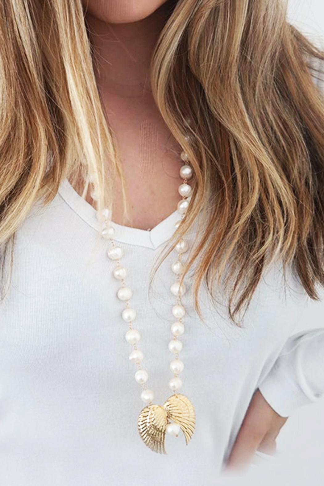 Malia Jewelry Double-Wing Pearl Necklace - Back Cropped Image