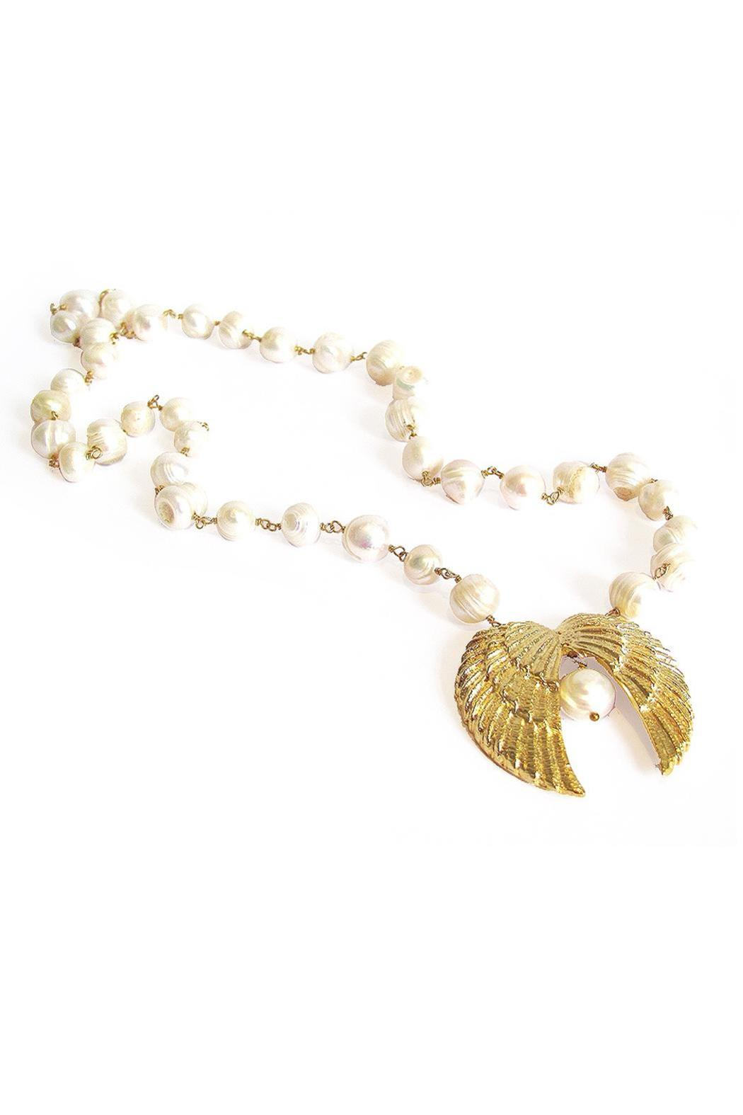 Malia Jewelry Double-Wing Pearl Necklace - Front Full Image