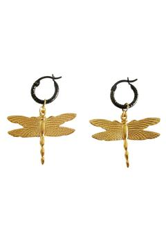 Malia Jewelry Dragonfly Black Hoops - Product List Image