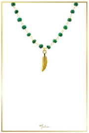 Malia Jewelry Emerald Leaf Necklace - Front cropped