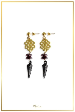 Malia Jewelry Garnet Black-Spike Earrings - Alternate List Image