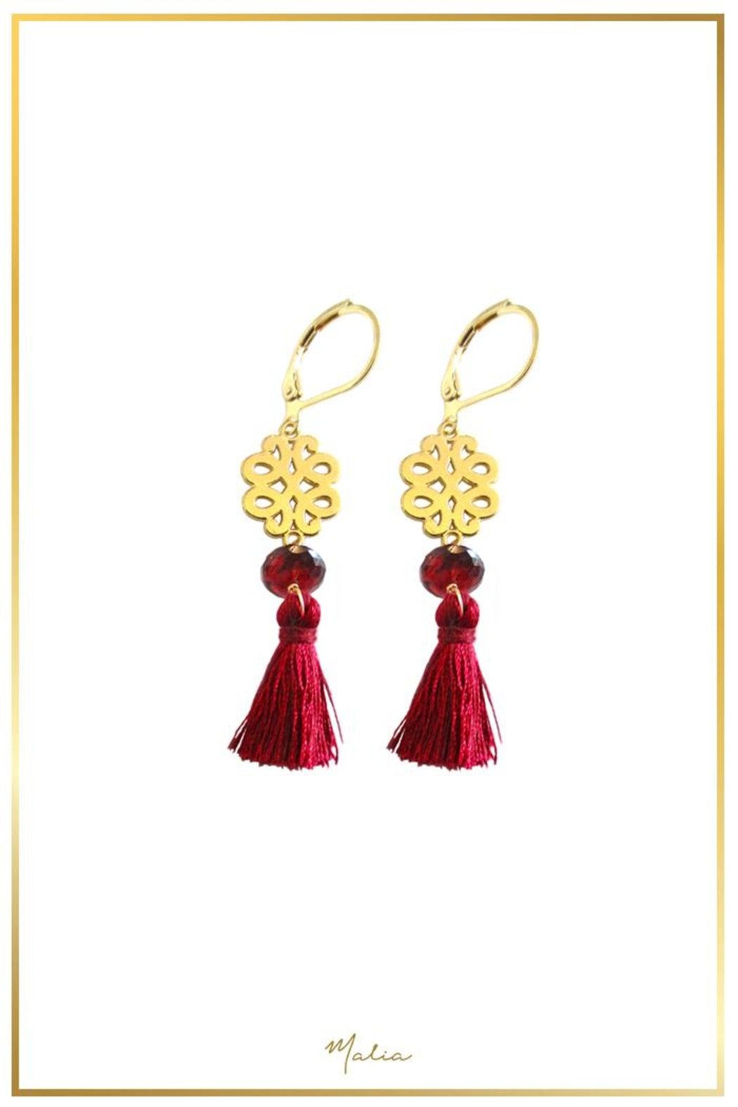 Malia Jewelry Garnet Marron-Tassel Earrings - Main Image