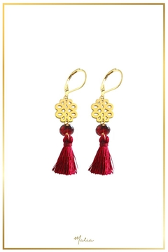 Malia Jewelry Garnet Marron-Tassel Earrings - Alternate List Image