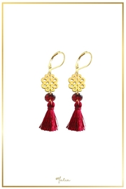 Malia Jewelry Garnet Marron-Tassel Earrings - Front cropped