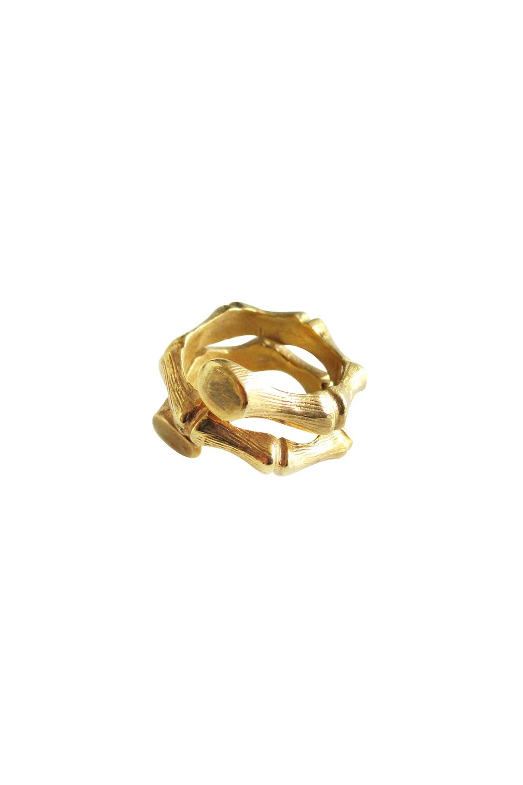 Malia Jewelry Gold Bamboo Ring - Front Full Image